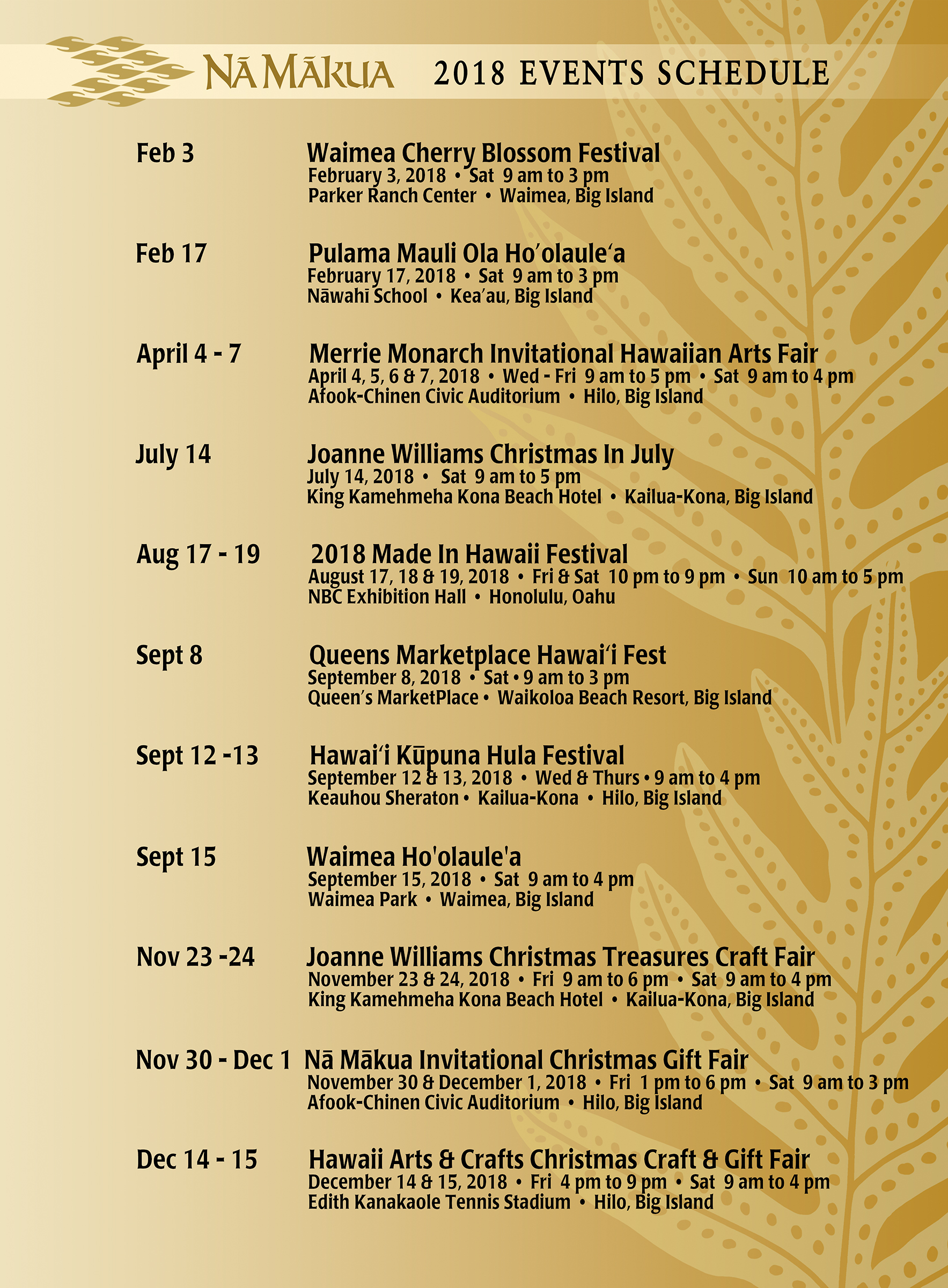 Na Makua Events 2018 Schedule