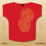 Monstera Dolman Scoop Tops - Red